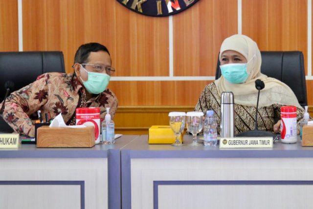 Gubernur Antar Buruh Jatim Temui Menkopolhukam Sampaikan Aspirasi Omnibus Law