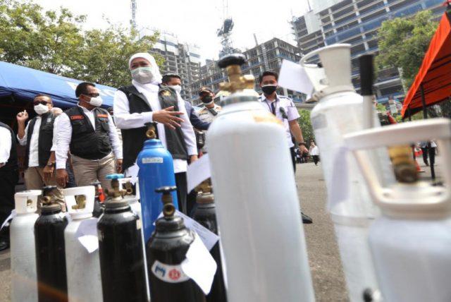 Gubernur Khofifah Launching Stasiun Pengisian Oksigen Gratis Bagi Pasien Isoman Covid-19